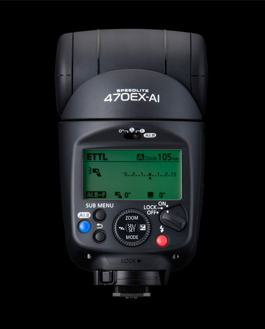Back view of the Canon Speedlite 470EX-AI.